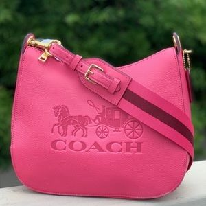 💕 COACH Pink Ruby Leather Jes Hobo Bag 💕